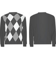 gray sweater with argyle pattern vector image vector image