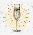 hand drawing champagne glass on grunge background vector image vector image