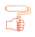 hand with paint roller vector image vector image