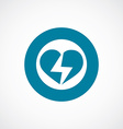 heart lightning icon bold blue circle border vector image