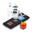 isometric science chat bot smartphone concept on vector image vector image