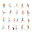 Jumping high male and female people avatar set vector image vector image