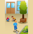 kids playing marbles and soccer outdoors vector image vector image