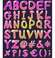 Letters of the alphabet in pink color vector image vector image