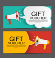 megaphone with speech bubble gift voucher concept vector image