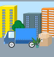 moving track with cartoon boxes and plant vector image