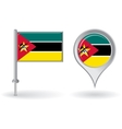 Mozambique pin icon and map pointer flag vector image vector image