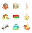 old building icons set cartoon style vector image vector image