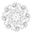 Ornamental round with peonies vector image vector image