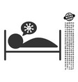 patient bed icon with men bonus vector image vector image