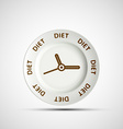 Plate as a clock and the words diet vector image vector image