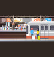 railway station with people passengers going off vector image vector image