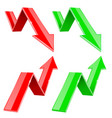 red and green up and down arrows financial vector image vector image