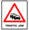 Road Sign Warning Traffic Congestion on White vector image vector image