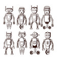 robots in black and white vector image