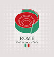 schematic drawing of the coliseum and italian flag vector image vector image