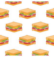 seamless pattern with delicious sandwiches on vector image vector image