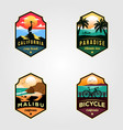 set beach logo travel designs vector image