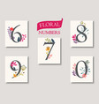 set beautiful flowers and numbers vector image