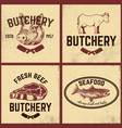set of butchery meat store seafood posters set vector image