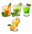set of glasses with fresh vegetable and fruit vector image vector image
