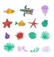 set sea marine fish animals plants vector image vector image