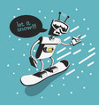 snowboard design with robot snowboarder vector image vector image