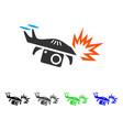 spy drone explosion flat icon vector image vector image