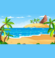 tropical beach scene with many palm trees at day vector image vector image