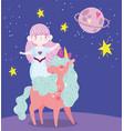 unicorn and mermaid saturn planet stars dream vector image vector image