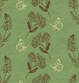 Vintage seamless pattern with herbs on a green vector image vector image