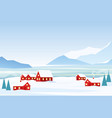 winter landscape with red vector image vector image