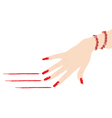 Woman hand with ruby bracelet scratching red lines