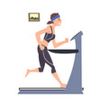 young woman in sportswear running on treadmil at vector image vector image