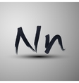 calligraphic hand-drawn marker or ink letter N vector image