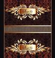 Golden royal label on damask background vector image
