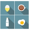 Scrambled Egg Soft-Boiled Egg Milk Coffee Icon vector image
