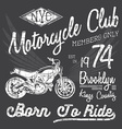 T-shirt typography design motorcycle NYC printing vector image