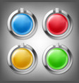 3d color buttons in metal frames vector image