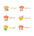 set of chef hat logo combination kitchen and vector image
