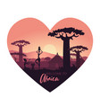 abstract landscape africa at sunset vector image vector image