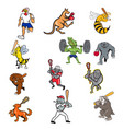 animal sports cartoon full body collection set vector image vector image