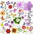 big collection flowers and butterflies vector image
