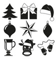 black and white 9 christmas elements set vector image vector image