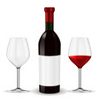 bottle of red wine with glass vector image
