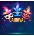 Bright carnival masks on dark blue background vector image