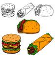 burrito taco hot-dog hand drawn vector image