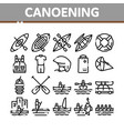 canoeing collection elements icons set vector image vector image