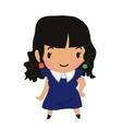 Cartoon girl flat sticker icon