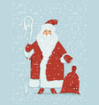 cartoon santa claus with magic staff and gift bag vector image vector image